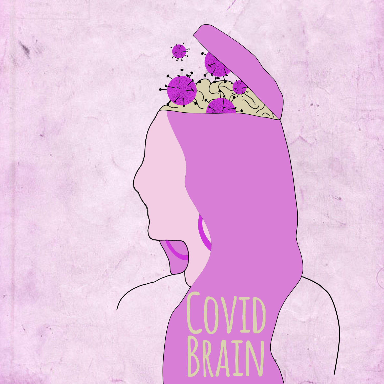 Editorial illustration of Covid brain